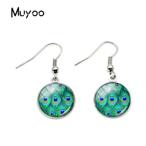 2019 Fashion Beatiful Blue Queen Peacock Bird Nature Fish Hook Earrings Jewelry Glass Dome Art Charm Animal Earrings Gifts
