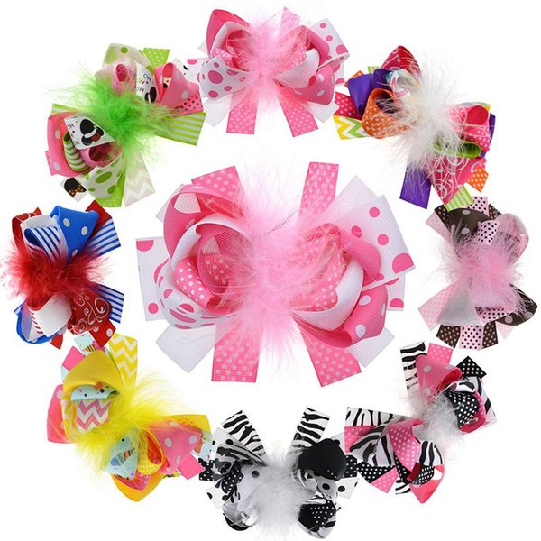 8PCS 5 Inches Kids Loopy Puff Feather Hair Bow With Clips Girls Flower Barrette Women Hair Accessories Photography Props