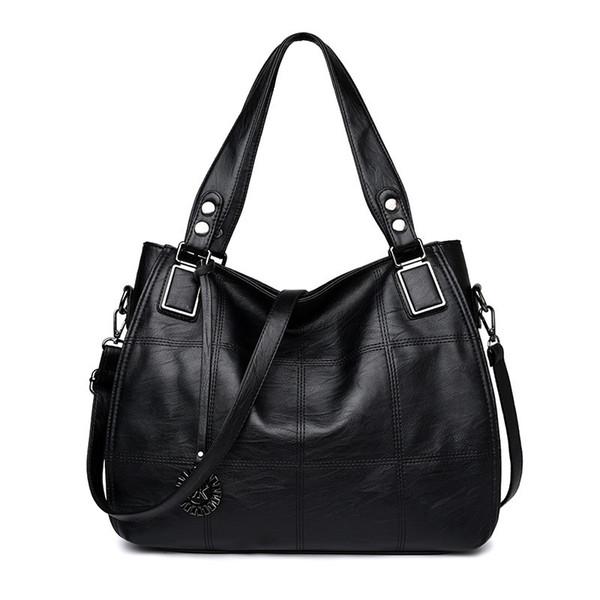 2019 New Fashion Leather Women Borse Borse Soft Pu Plaid femminile Sholder Bag Signore Ladies Hand Borse Casual Tote Sac A Main