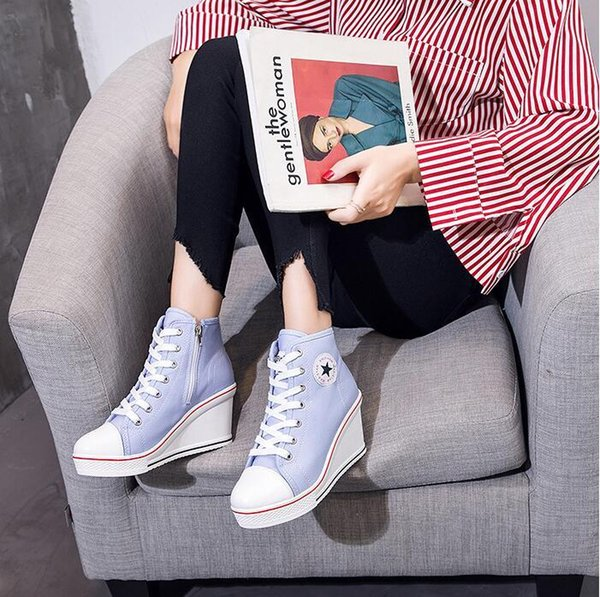 2019 Fashion Women Shoes Wedge Sneakers High Top Platform Shoes Woman Female Casual Elevator High Heels Canvas Shoes Plus Size s07