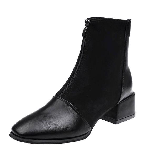 Thick Heel Boots New Women Boots Square Head Front Zipper Bare Suede Plus Velvet High Heel Martin Women Shoes jooyoo