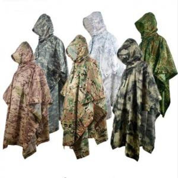Camouflage Poncho Raincoat 8 Colors Outdoor Waterproof Military Camping Hunting Ground Mat Rain Coat Men Women Rain Gear 30pcs OOA6173