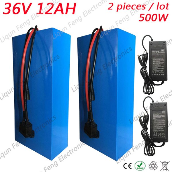 Wholesale 2pcs/lot Bicycle 36V Battery 12AH 500W eBike Battery 36V with 42V 2A charger 15A BMS Lithium Scooter Battery 36V 12AH