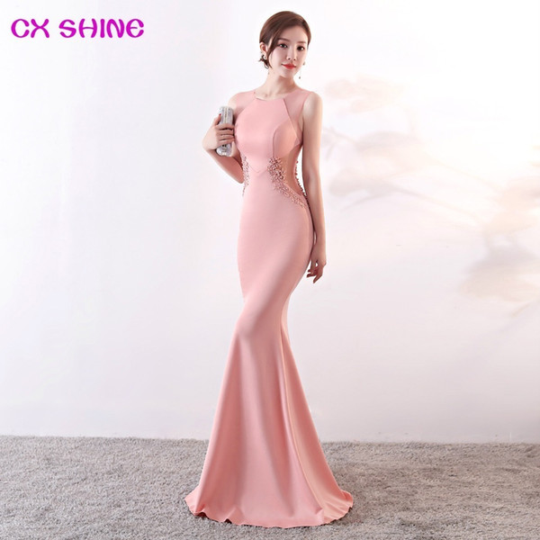 Long Evening Dresses Cx Shine Lace Flowers Beading Sexy Mermaid Trumpet Long Prom Party Dress Elasticity Robe De Soiree Vestidos Y19042701