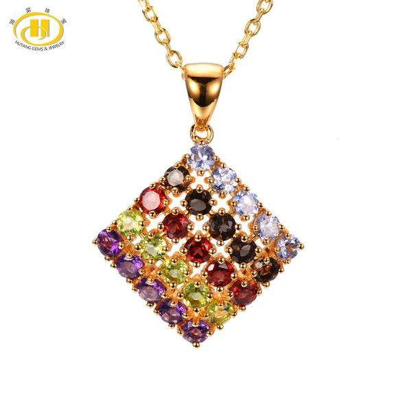 8de54b57cfaba 2019 Hutang Stone Jewelry Multi Color Gemstone Tanzanite Quartz Garnet  Peridot Amethyst Solid 925 Sterling Silver Pendant Necklace From  Irish16888, ...