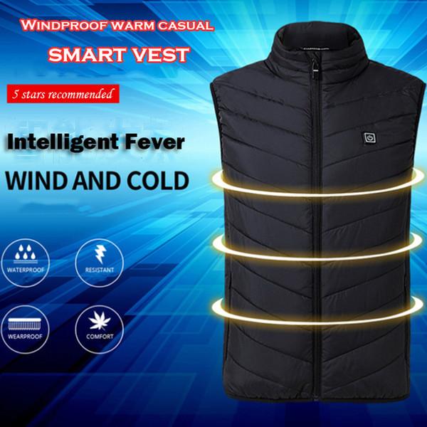 Erkek yelek Elektrikli Isıtmalı Yelek Erkek Kadın Isıtma Yelek Termal Sıcak Giyim Usb Isıtmalı Açık Yelek Kış Ceket erkekler 4967