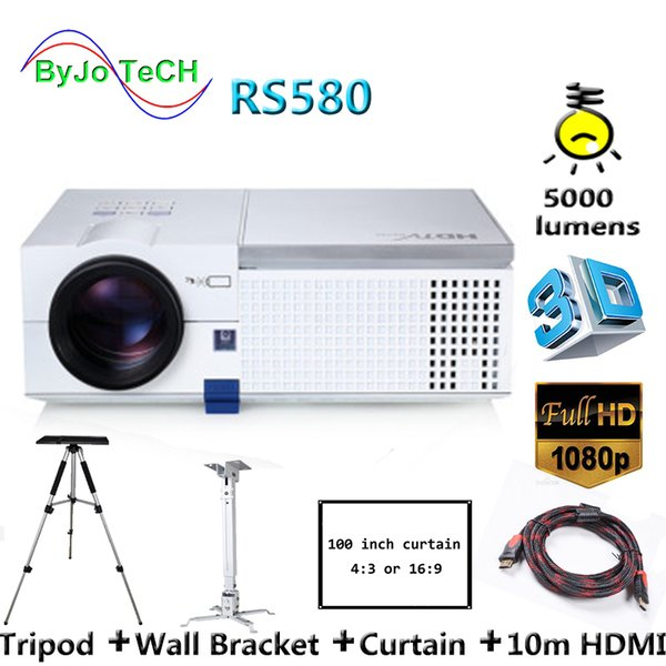 top popular ByJoTeCH RS580 Full HD 1080P LED projector 5000 lumens Built-in Double HIFI speakers 3D Proyector With 10m HDMI Tripod 2019