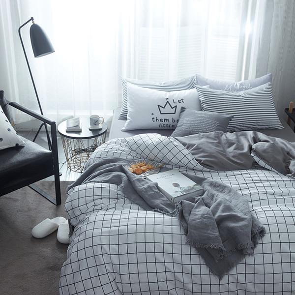 100 Cotton Plaid Duvet Cover Set Twin Queen King Brief Men S Bedding Sets Solid Color Grey Bed Sheet Pillow Case Quilt Covers Bedding Comforter Sets