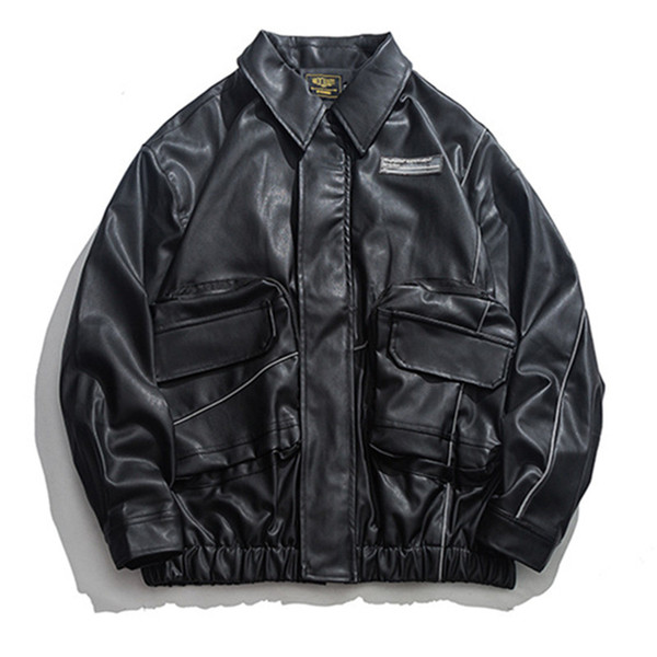 Motorcycle Leather Jacket Multi Pocket Autumn Pu Leather Jacket Coat Oversized Loose Outwear Male R2126