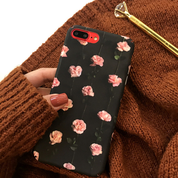 Flor de rosa Caja de acrílico para el teléfono para iPhone 6 7 8 más X Casos de teléfono para teléfono vintage