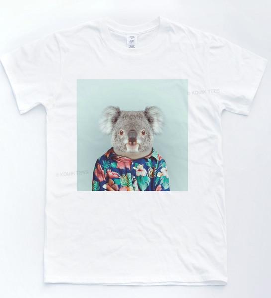 KOALA SELFIE T-shirt Do Vintage Teste Padrão Floral Engraçado Tee Indie Retro Animais Top 2018 Nova Camisa Dos Homens de Manga Curta T 100% Algodão Família Top Tee