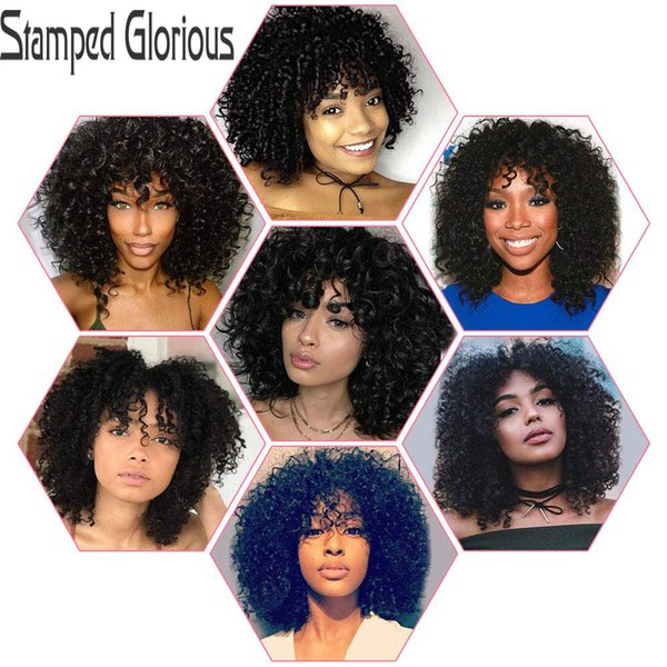 "stamped glorious 12"" long hair synthetic ombre black brown golden wigs for women kinky curly afro wig african american"