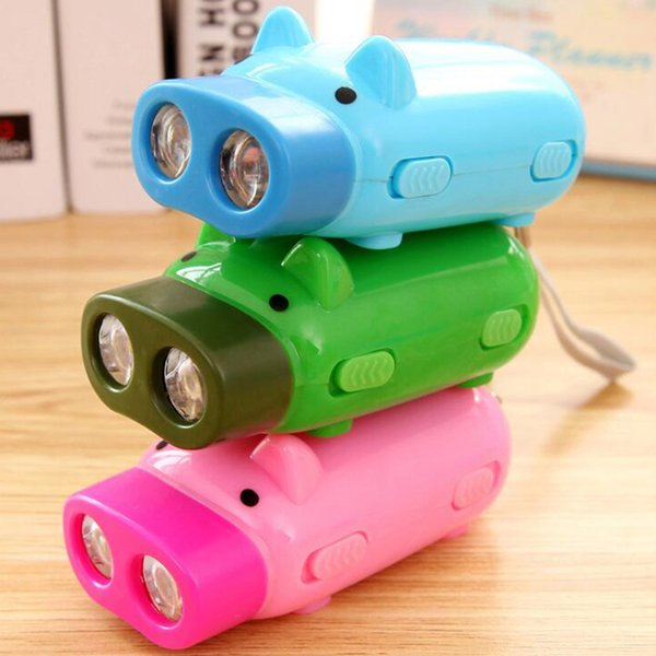 Creative Pig Hand Pressing Flashlight Pig Hand Pressure Self-generating Mini Flashlight 2 led Flashlights portable outdoor Torches LJJZ396