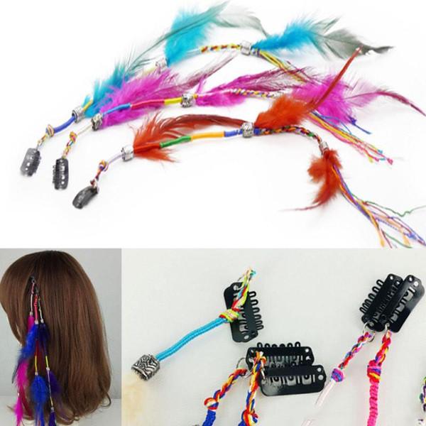 Fermagli per capelli in piume di Boemia colorate Accessori per capelli Piume indiane BB Clip Donna Gioielli Barrettes Mix colori