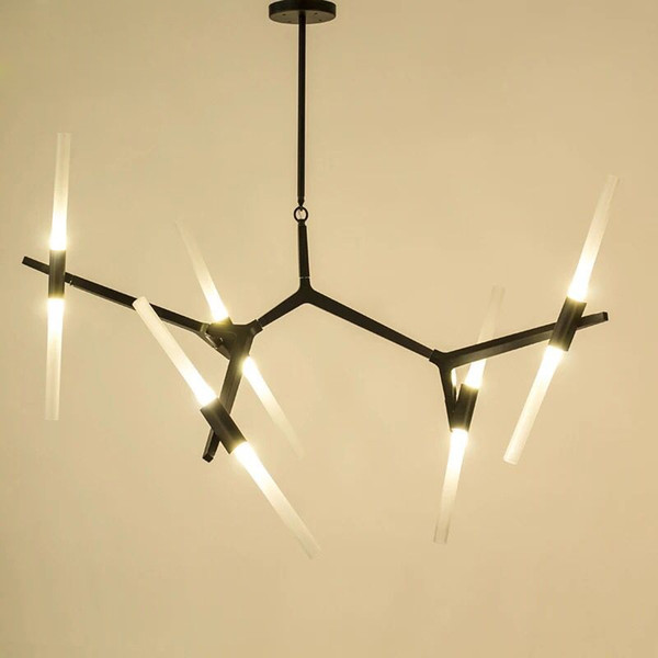 Luxo Ouro Sconces de vidro luz do candelabro preto Quarto Cozinha Sala de Estar Bar Chandelier Fixação escurecimento Hanging Lamp LED G9