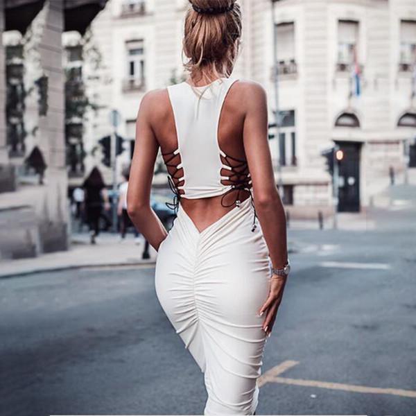 Плиссированное платье с открытыми плечами Женщины Бинты Midi Узкие облегающие платья 2019 Лето Sexy Club Повседневная белая одежда дизайнер Vestido