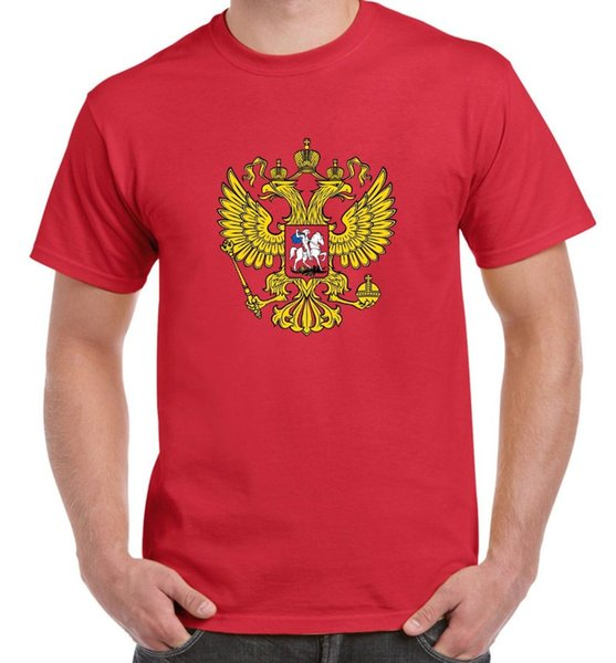 T-shirt da uomo bandiera russa con stemma - Football Athletics Russia nuova maglietta a maniche corte in cotone 2019 2019 100% cotone