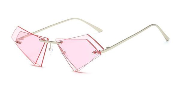 triángulo sin marco personalizado gafas irregulares de doble capa gafas de sol de la tendencia de la lente