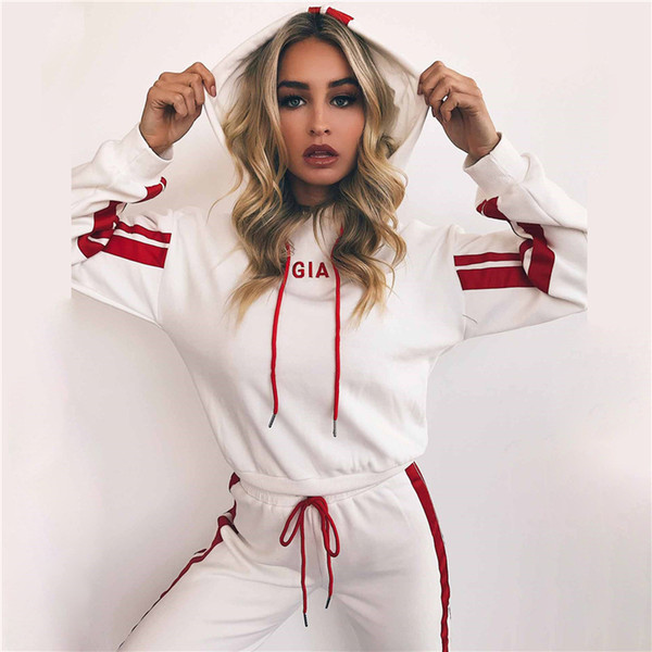 ZOGAA Women's Tracksuit Two Piece Set Casual Sportswear 2 Piece Set Women White Red Sweat Pants Sweatshirt Hoodie Outfit