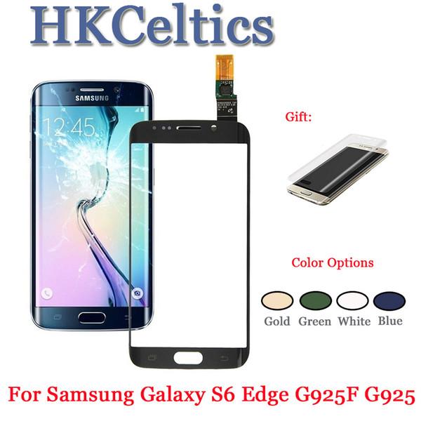 Samsung Galaxy S6 Kenar G925 G925F Için 1 Adet Test Dokunmatik Ekran Ön Cam Dokunmatik Panel Digitizer LCD Dış Panel Lens + Sticker