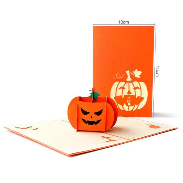 Compre Nueva Tarjeta De Felicitación De Halloween 3d Emergente Enojado Calabaza Creative Holiday Invitaciones Tarjeta Sobre Incluido Para El Festival