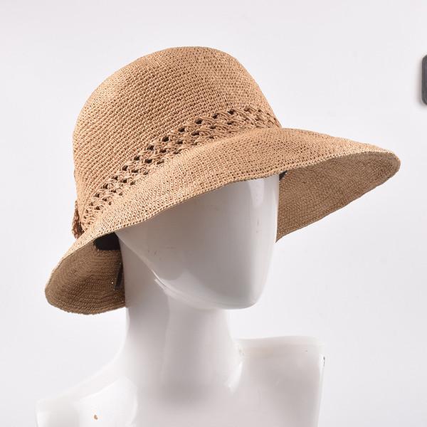 Straw Hat Female Summer Ultra-fine Raffi Paper Crochet Headgear Outdoor Travel Sunscreen Butterfly Knot Big