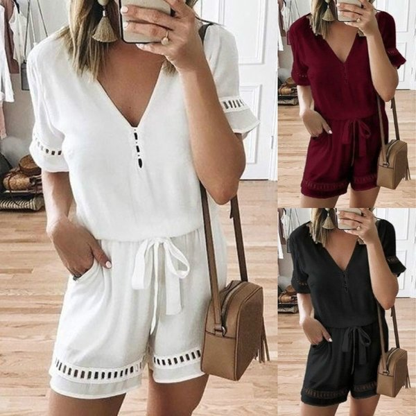 Women Playsuits Casual V Neck Loose Jumpsuits Belt Waist One Piece Suits Short Sleeve Ladies Shorts Rompers