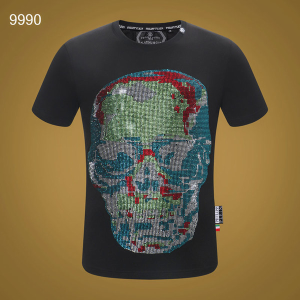P#3310 T-Shirt For Men Casual Pullover Sport Tops Tees Sequin Hip Hop Skulls Ghost Head Short Sleeve Cotton Leisure Medusa Fashion T Shirts