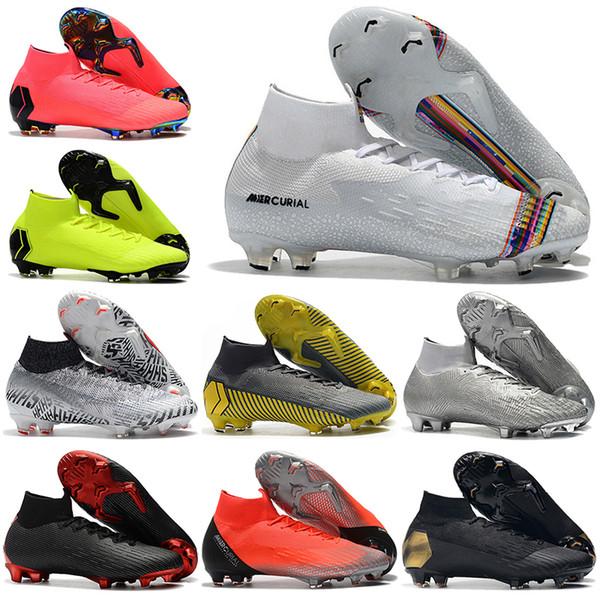Bottes de football pour hommes hautes chaussures de football LVL UP Superfly 6 Elite FG CR7 Mercurial Superfly VI chaussures de football Neymar NJR ACC