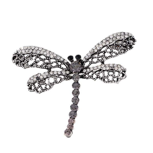 2019 Vintage Dragonfly Brooch Women Insect Jewelry Hollow Out Rhinestone Brooches Broches Ladies Lapel Hijab Scarf Banquet Pin 10pcs/lot