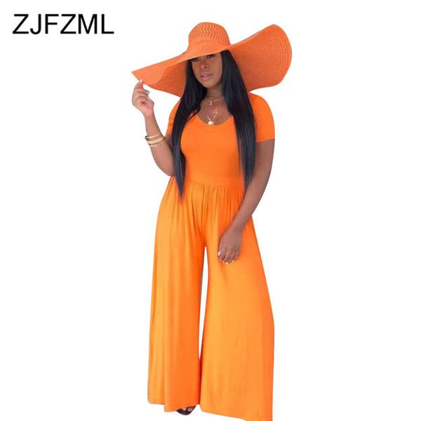 Neon Orange Loose Rompers Womens Jumpsuit Deep V Neck Short Sleeve Wide Leg Bodysuit Summer High Waist One Piece Beach Overalls