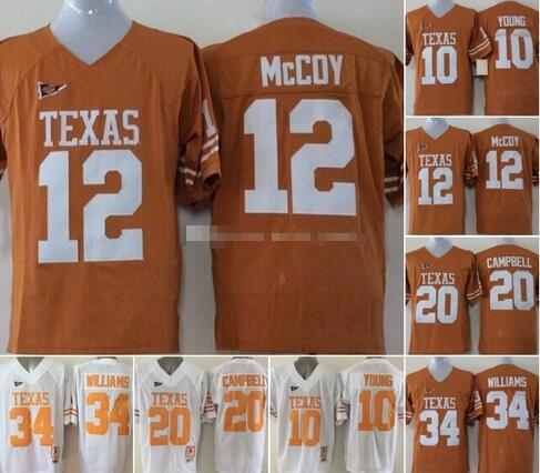 Camicie NCAA Vintage Texas Longhorns College Football Jerseys Cheap 10 Vince Young 34 Ricky Williams 20 Earl Campbell Università di calcio