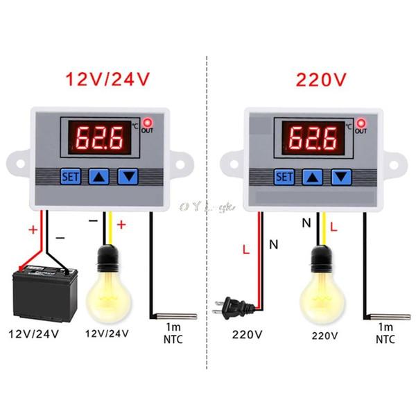 12V 24V 220V W3002 Regulador del termostato del controlador de temperatura digital 10A LED