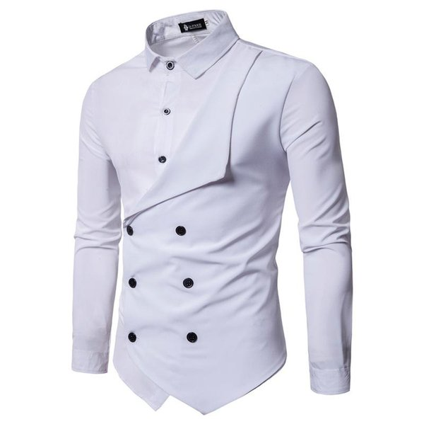 Elegante para hombre falso 2pcs camisas de doble botonadura Camisas casuales de diseño Tops de moda