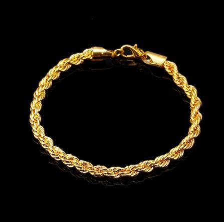 Rope Bracelet Gold Silve Inch x 5 MM Thick Mens Twisted Braided Chain Hip hop Bracelet