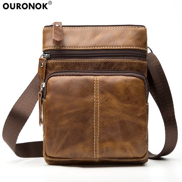 Designer OURONOK Genuine Cow Leather Men Bag Vertical Women Unisex Shoulder Messenger Bag Zipper pouch for Gift Men Women Crossbody Bag