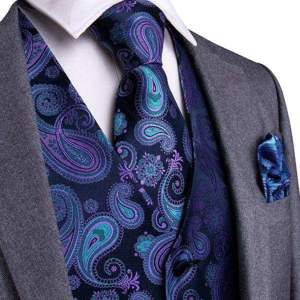 Púrpura Negro Paisley Top Design Hombres de boda 100% Chaleco de seda Chaleco Corbatas Hanky Gemelos Conjunto de corbata para traje de esmoquin MJTZ-104