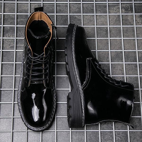 Caliente Ins manera barata Martin botas de cuero charol hombres Deisigner Zapatos Top Quility mantener el calor 101530 size39-44