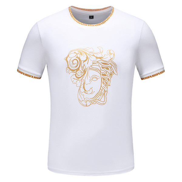 Maglietta casuale di modo di stampa della maglietta di nuovo modo degli uomini 2019 maglietta casuale a maniche corte nuova lista 2 colore bianco nero