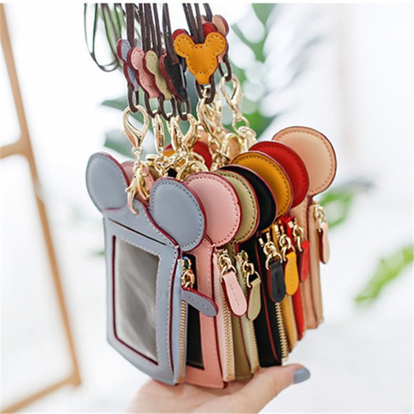 Happy Dream Card Slot Zip Cartoon Ear Wallets with Lanyard Neck Strap Card Holder Coin Purse Pocket Pouch Name Credit ID card Bags A52201