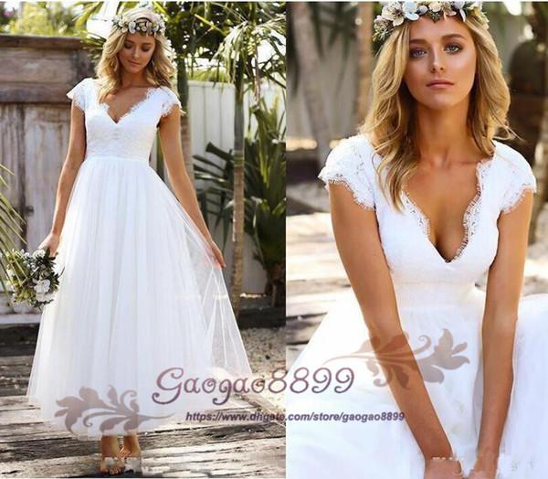 f8153d7ab5 Bohemian Lace Tea Length Wedding Dresses Coupons, Promo Codes ...