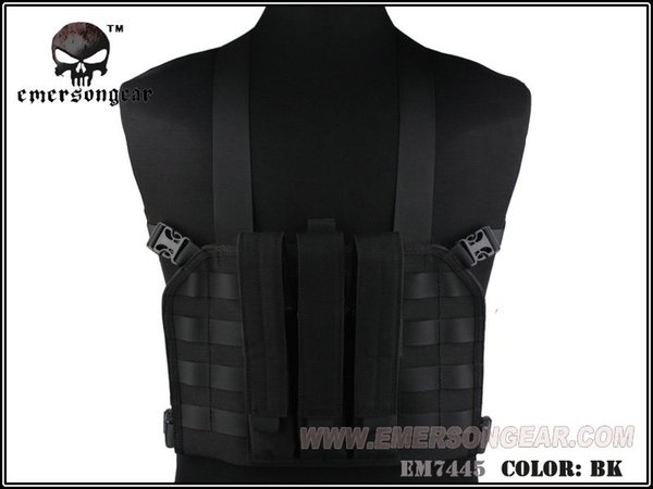 EMERSON MP7 Tactical Chest Rig Tactical Vest Airsoft Paintball Esercito Militare Da Combattimento Nero EM7445 # 348676