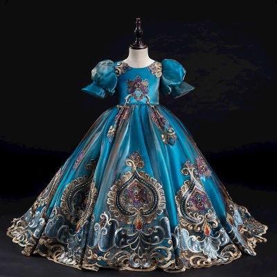 2020 vestito di lusso gilrs dei nuovi bambini vestiti da spettacolo maniche principessa breve lanterna presentatore abito d'epoca vestito da sera di fascia alta