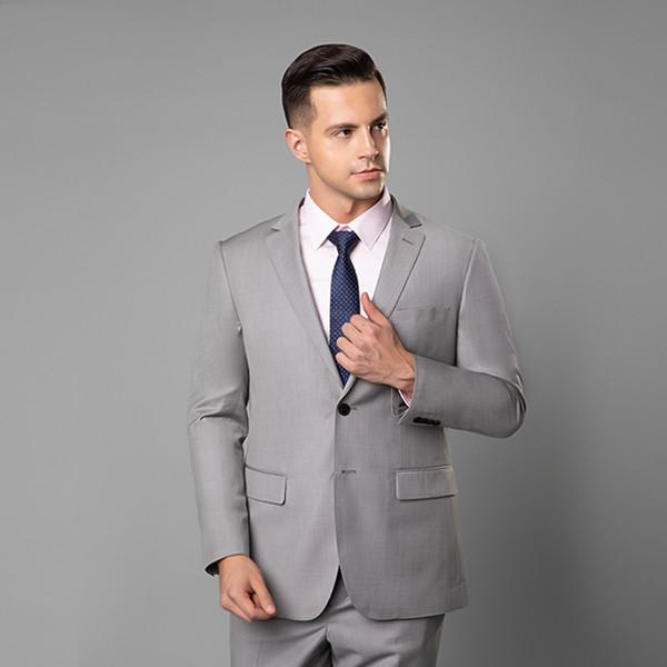 Light Gray Wedding Tuxedos Slim Fit Trajes para hombres Padrinos de boda Traje de dos piezas Prom baratos trajes formales (chaqueta) Imagen real