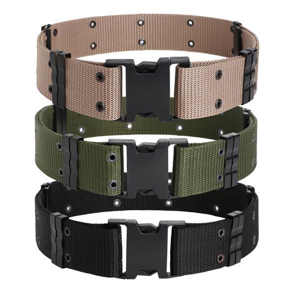 top popular Tactical Belts Outdoor Training Hiking Sport Outdoor Belt Combat Rigger Fashion Militaria Military Waist Belt Army Green Khaki Black 2021