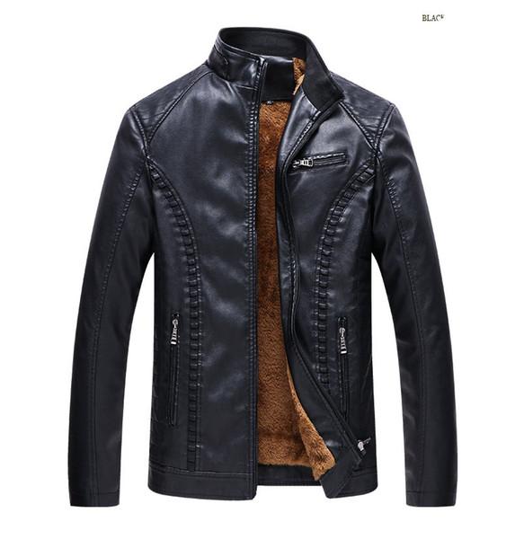 Ropa de cuero para hombre, motocicleta, leathe, chaqueta delgada para hombre, chaquetas de diseño, además de terciopelo cálido, cuero, chaqueta de cuero PU.