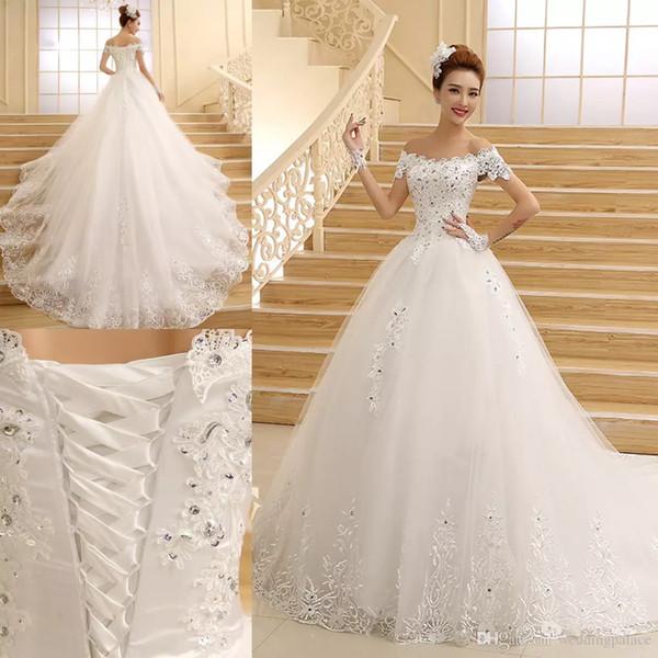 Latest Fashion Cap Sleeve A-line Wedding Dresses Court Lace Up Back Plus Size Luxurious Wedding Gowns Custom Made Vestido De Novia