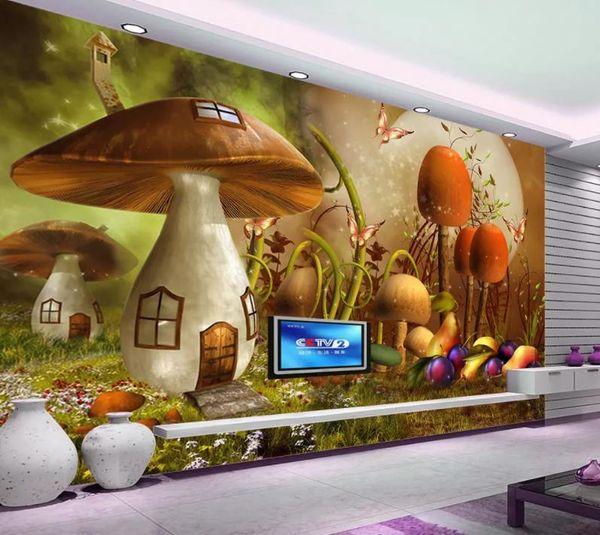 Papel tapiz personalizado para paredes Fantasy Cartoon Tree Habitación para niños Deep Forest 3D TV Fondo de pared