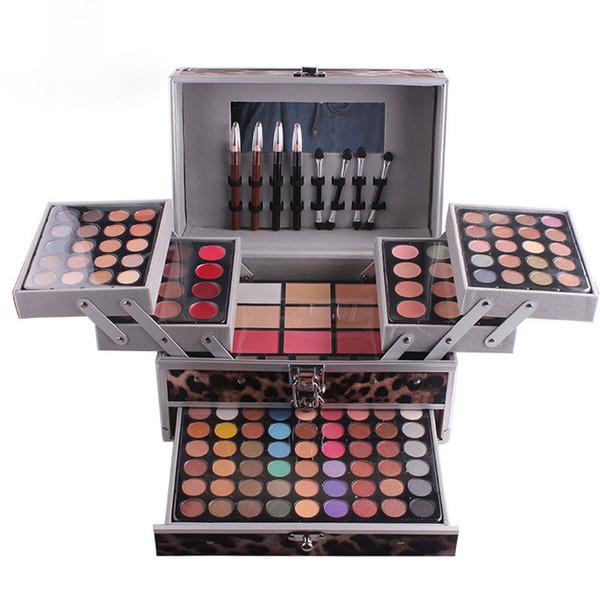 MISS ROSE Makeup Kit professionale a tre strati con ombretto e rossetto in polvere Blush Cosmetics Set con scatola in alluminio