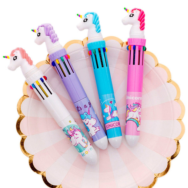 1pc 6 / 10 colors in unicorn ballpoint pen silica rainbow kawaii ball pen for kids gift creative student school stationery, Blue;orange